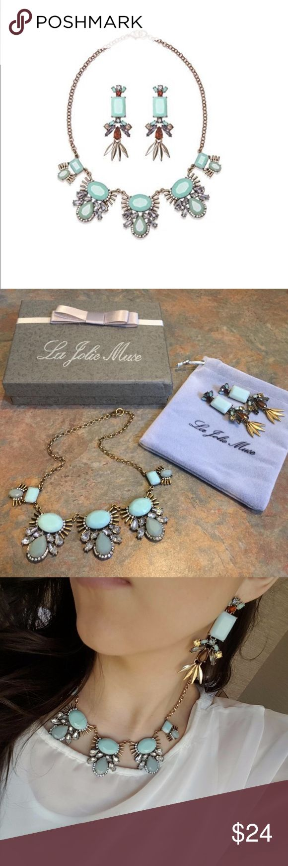 """💠New💠 """"Laura"""" Classy Mint Necklace Set Add a solid and long lasting piece to your wardrobe!  💠NECKLACE- Beautiful matte mint-colored rhinestones are beset by crystal stones to give this piece its upscale look. Perimeter Size: 18""""; Weight: 50g. 💠EARRINGS- Opaque mint-colored stones create the centerpieces, while sparkling rhinestones in shades of chocolate and amber add a rich color contrast to the set. Clusters of gold-toned leaves hang from the bottom of each earring to add a stunning…"""