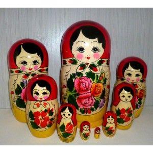 Semenov red scarf 9set giant #Babushka #russiandoll #matryoshka #dollsindolls #decor #traditional