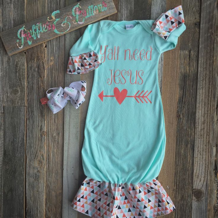 Mint coral gown set, sassy gown, baby girl gown, infant gown, take home, baby shower gift, yall need Jesus, monogram by Rufflesnbuttons on Etsy https://www.etsy.com/listing/262032691/mint-coral-gown-set-sassy-gown-baby-girl