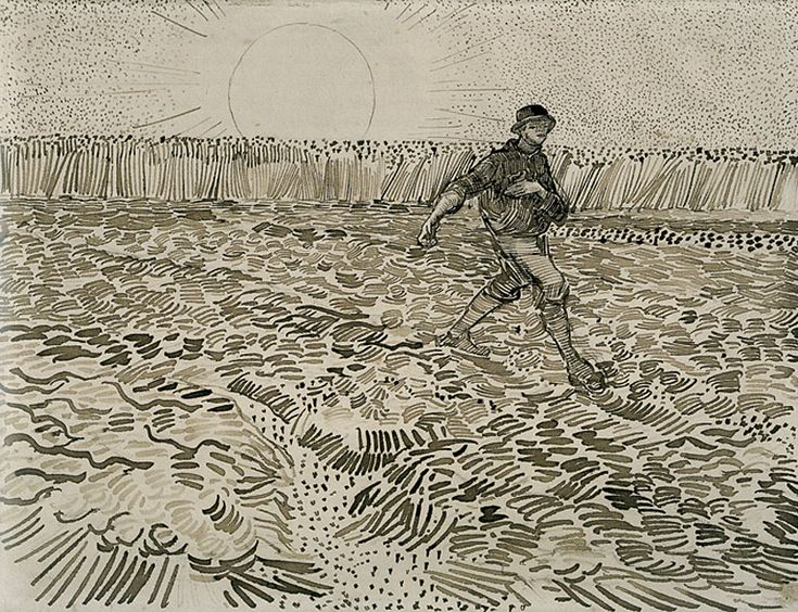 Vincent van Gogh, The Sower, 1888, Pencil, pen, reed pen and brown ink, on wove paper