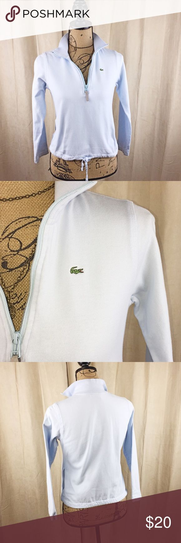 Lacoste pullover top Delicate pullover sweatshirt top with tie string waist. 1/3 zip up. High collar. Classic Lacoste top Lacoste Tops
