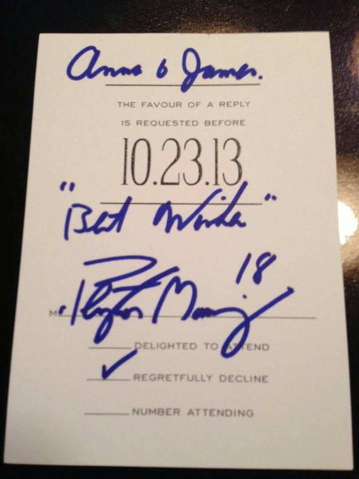 Fan invites Peyton Manning to wedding. Peyton declines... omg, ordering lots of invites to send to my celebrity idols!
