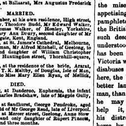 MALTBY-RYAN Marriage. Thomas Karran Maltby and Mary Ellen Ryan. 22 Oct 1857, Ararat. The Age, 30 Oct 1857, p. 4, 'Family notices'.