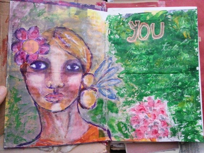 The junk journal project - silence your mind - painting on a leaflet - By Cristina Parus @ creativemag.ro
