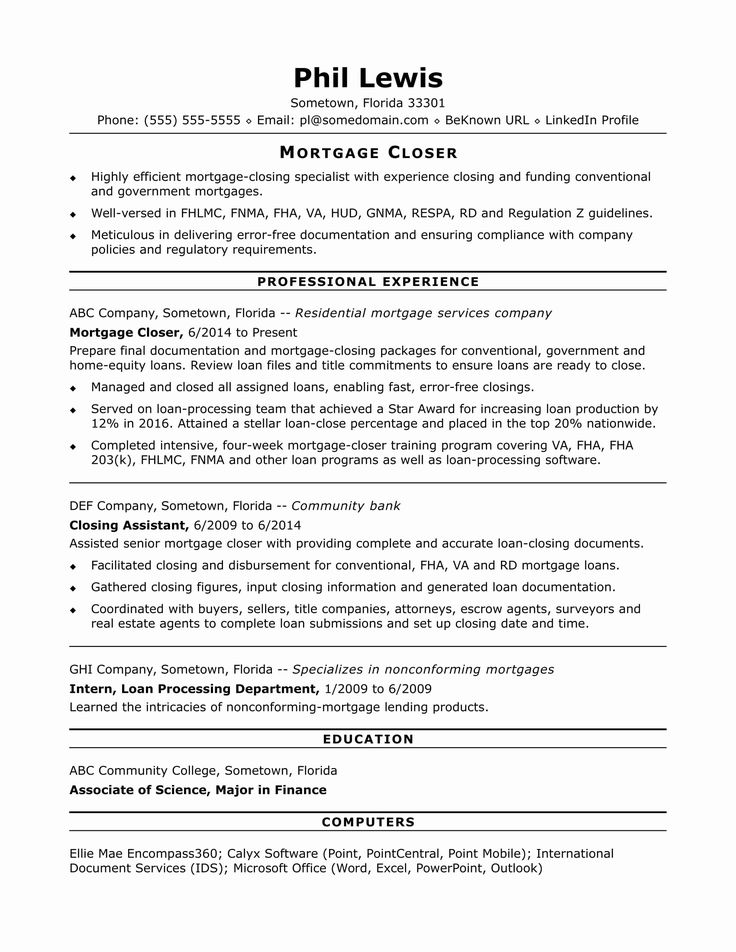 Resume Title Examples For Any Job Elegant Mortgage Closer Resume Sample In 2020 Cover Letter Example Letter Example Resume Design Template