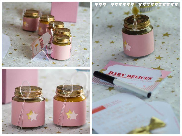 Baby shower fille, baby shower rose et doré, girl baby shower, pink and gold, petit pot