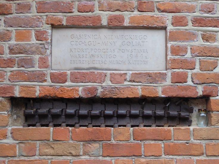 Bazylika archikatedralna św Jana Chrzciciela (St John's Cathedral) on Świętojańska Street. Tank tracks of the Goliath tracked mine which destroyed a large part of the building during the Warsaw Uprising....
