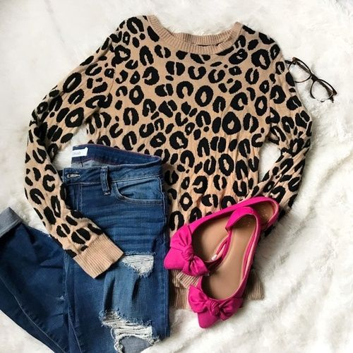 Leopard is a neutral! Love these hot pink bow flats paired with a sweater and ripped jeans! || winter outfit | spring outfit | sweater outfit | leopard print sweater | preppy outfit | girly style | how to wear glasses | flats for work | office ready shoes | affordable trendy outfits | casual sweater outfit | flat lay | flatlay