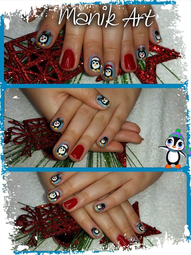 #nails #ongles #Christmas #noel #nailart #penguin #red