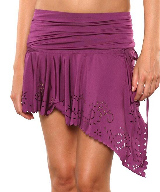 Plum Convertible Cover-Up Mini Skirt