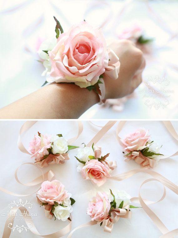 Blush Pink Rose Wrist Corsage Bridesmaid by MissHanaFloralDesign