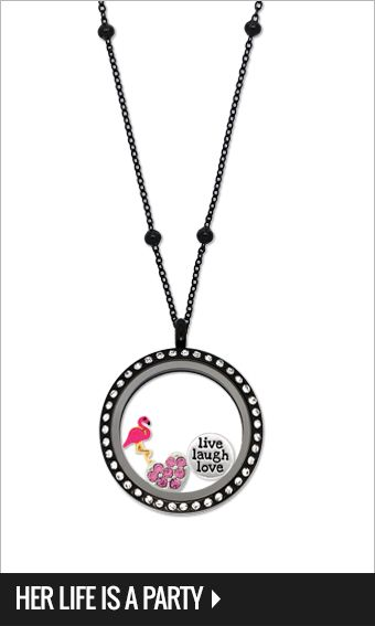 Large black locket with crystals, Black ball chain 45-50cm, Pink crystal heart, Live, laugh, love & flamingo Charms $74-