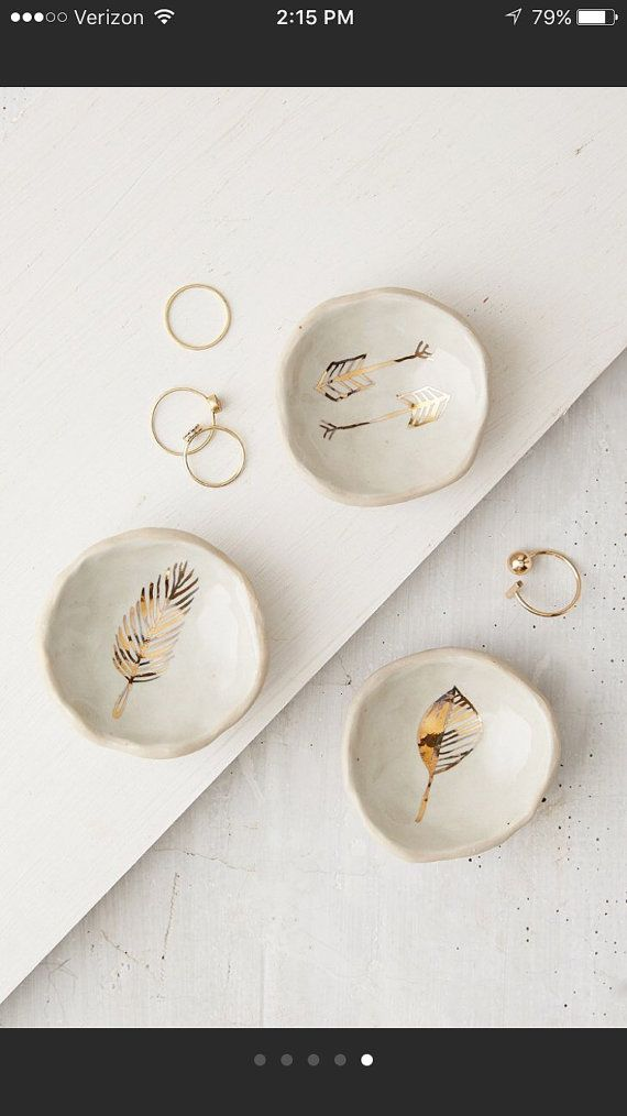 gold catch all's by picklepottery on Etsy