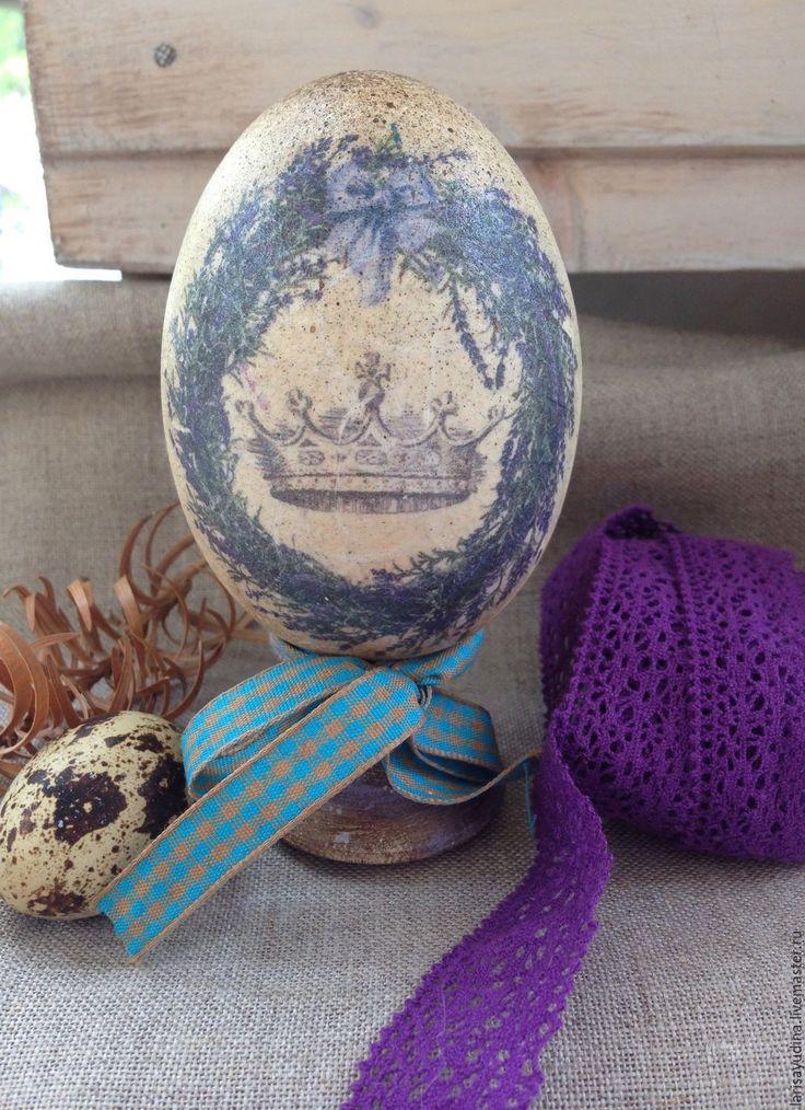 Купить Пасхальное яйцо Лавандовый венок - сиреневый, лавандовый, бежевый, винтаж, венок, лаванда, подарок