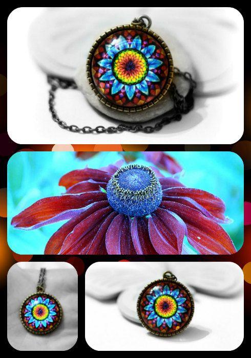 Mandala Pendant Blue Flower Mandala Necklace by KatkaCrea on Etsy