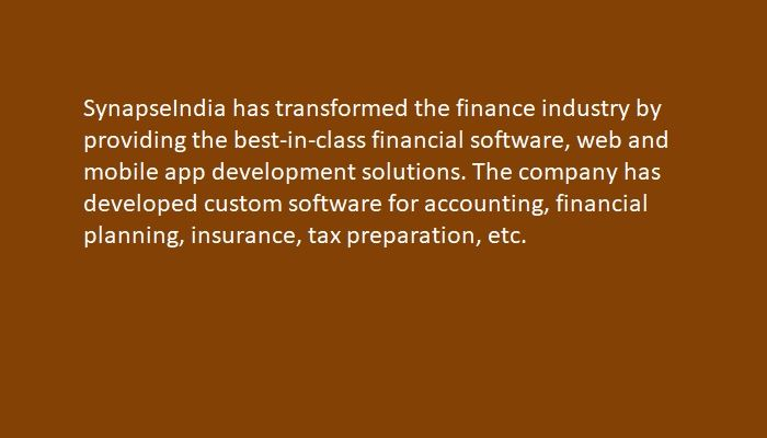 SynapseIndia has transformed the finance industry by providing the