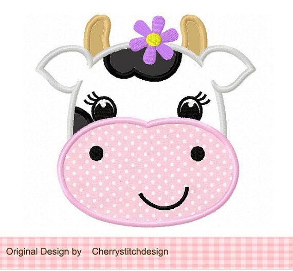 Cow 01 Applique -4x4 5x7 6x10-Machine Embroidery Applique Design