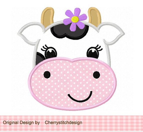 Vaca 01 Applique 4 x 4 5 x 7 6 x 10máquina por CherryStitchDesign, $2.99