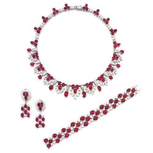 Impressive ruby and diamond parure, Bulgari, circa 1945 ...