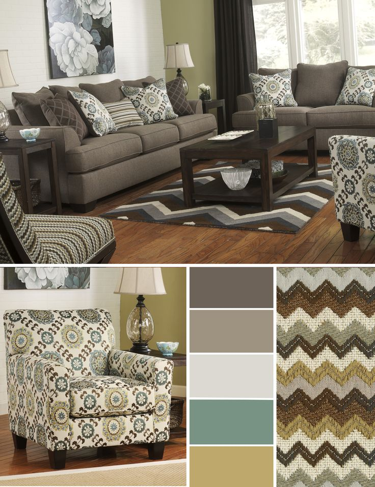 Warm Accent Colors Against A Cool Sofa. || Corley By Ashley Furniture