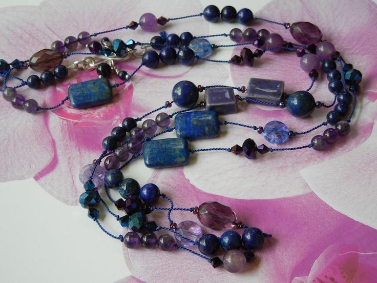 """Fairy Pools"" jewelry ensemble. Hand knotted silk necklace. Finnish ceramic beads, lapis lazuli, fluorite, crackle quartz, amethyst, Swarovski glass. BSBP6 #2 Reveal."