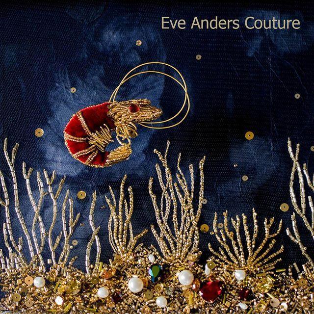 Magnificent Brooch Shrimp hand-embroidered by #eveanders. Великолепная брошь Королевская Креветка от #eveanders.