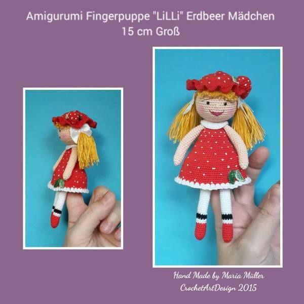"""Finger Puppe """" Lilli """" das Erdbeer Mädchen 15 cm Groß"""
