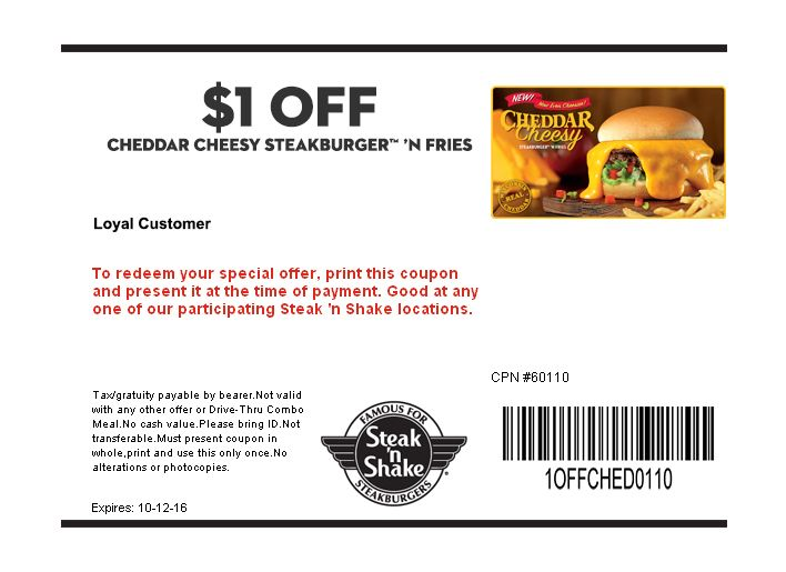 Breakfast taco free with your drink at Steak n Shake The Coupons - coupon disclaimer examples