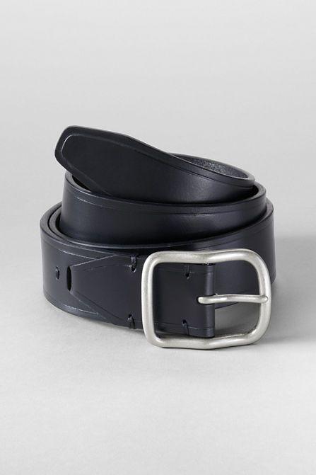 Men's Center Bar Leather Jean Belt from Lands' End
