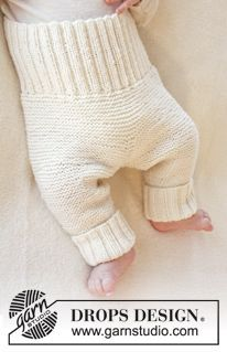 """Smarty Pants - Knitted DROPS pants in garter st in """"Baby Merino"""". Size premature - 4 years. - Free pattern by DROPS Design"""