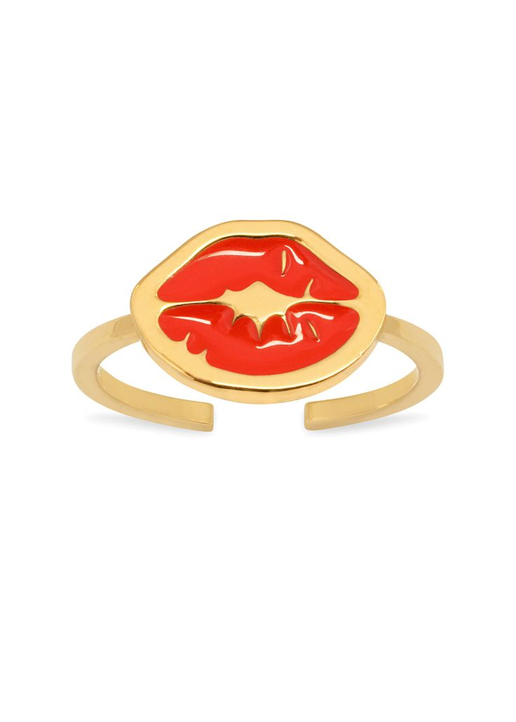 'Punk Kiss' midi ring with charm: a thin band midi ring with signature 'Kiss stamp' enamelled charm in red. Opened at the back for adjustable sizing.