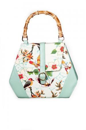 Green Butterfly And Flowers Retro Handbag