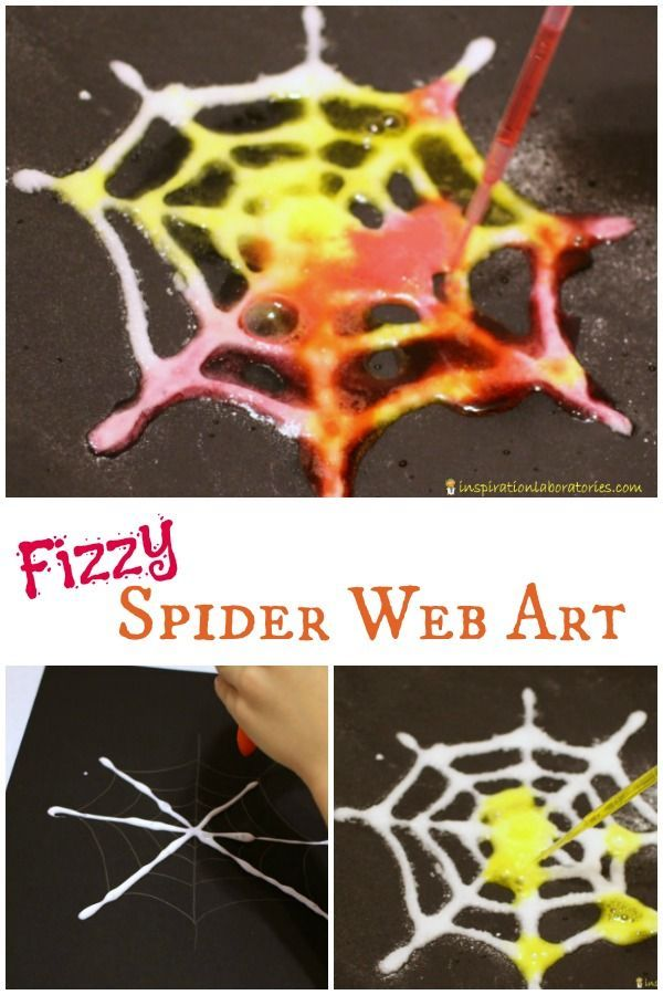 Combine science with art to make colorful, fizzy spider web art.