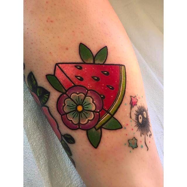 Pretty Watermelon blossom tattoo by Deanna @Deannalovetatto #Deannalovetattoo #Watermelon #WatermelonTattoo #Fruit #traditional