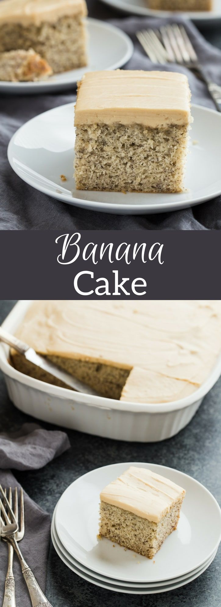 Easy Banana Cake recipe topped with luscious brown sugar frosting. This cake comes together in one bowl and sure to be a crowd pleaser.