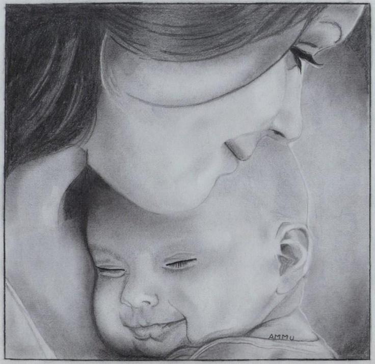 Картинки про мам карандашом