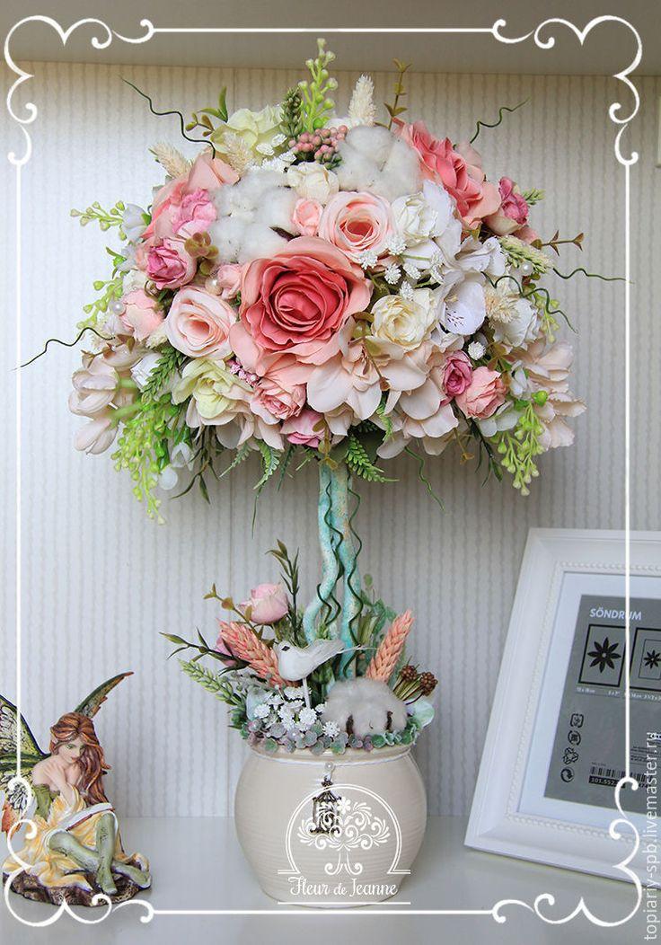 """Купить Топиарий """"Нежность рассвета""""(3), дерево счастья - розовый, топиарий дерево счастья, топиарий"""
