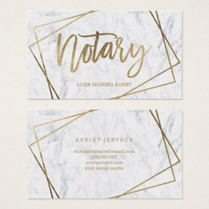 Notary faux gold script geometric marble business card - script gifts template templates diy customize personalize special