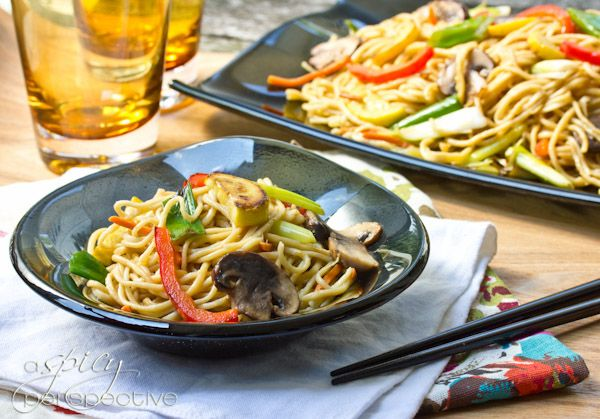 Vegetable Lo Mein | ASpicyPerspective.com: Kitchenaid Giveaways, Asian Food, Mein Recipes, Pasta Maker, Food Dinners, Pasta Kitchenaid, Homemade Noodles, Homemade Pasta, Lo Mein