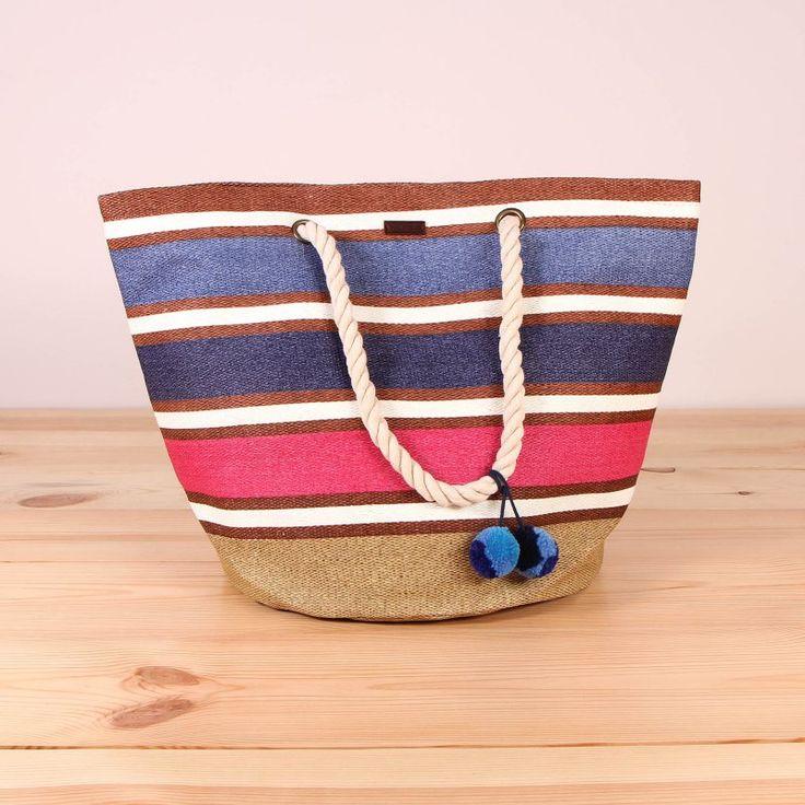 Sztywna słomkowa torba kosz Roxy Sun Seeker - Chambray / www.brandsplanet.pl / #roxy