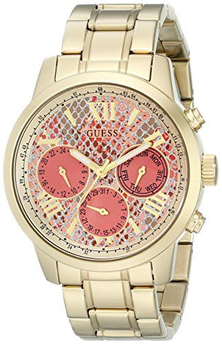 GUESS Women's U0330L11 Stainless Steel Gold-Tone Watch with Coral Python-Pri...
