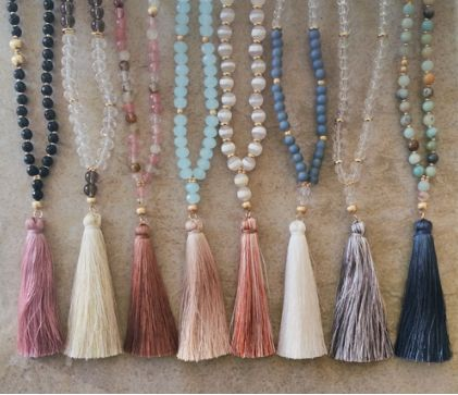 FINEST JINSHA THREADS TASSEL AND MULTI COLORED GLASSBEADS DROP PENDANT LONG NECKLACE APPROX. 30""
