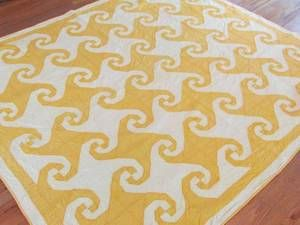 Daffodil Yellow Vintage c1920 30s Snails Trail Quilt | eBay, vintageblessings