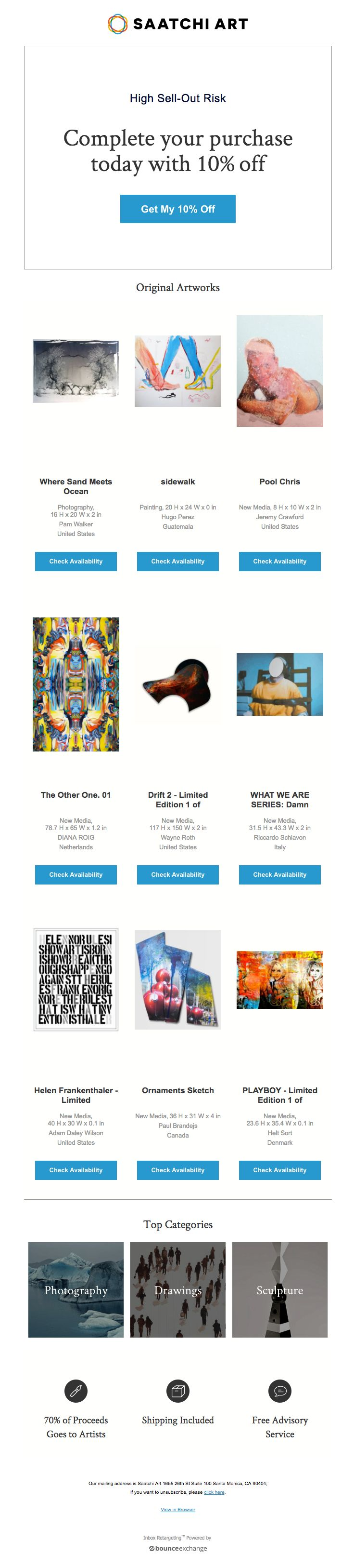 Saatchi Art sent this email with the subject line: The Artworks You Looked at Are Being Discovered - Read about this email and find more abandoned cart emails at ReallyGoodEmails.com #abandonedcart #discount #home #furniture