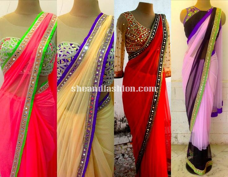The 11 best images about saree on pinterest red and blue for Mirror work saree