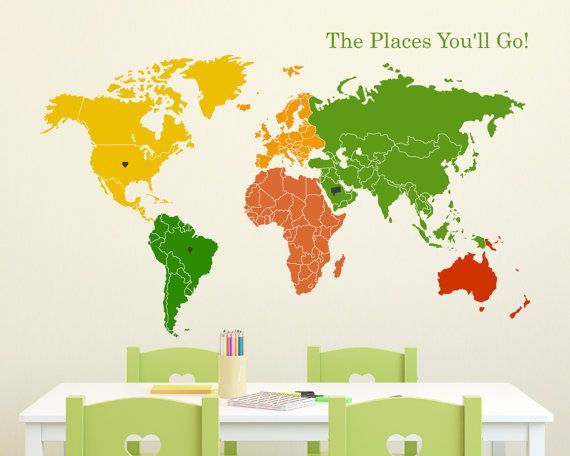 World Map of Continents & Map Markers Wall Decal by Zapoart, $59.00I like the colors of this one