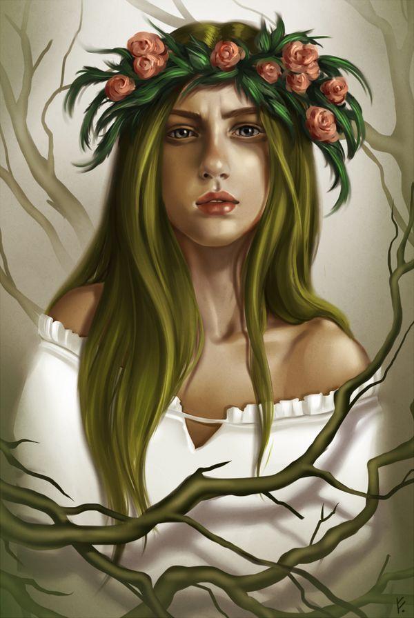 Rusalka by Fenwyn. http://rvannith.deviantart.com/  #digitalart #digitaldrawing #digitalpainting #drawing #painting #slavic #slavicmythology #art #artist #artonpinterest #artistsonpinterest #colourful #painttoolsai #SAI #rusalka #greenhair #wreath #portrait