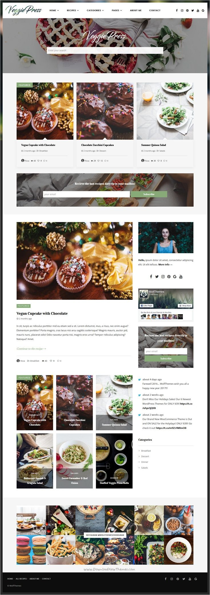 VeggiePress is an elegant responsive #WordPress Theme for #Food and #Recipe #blogs with AJAX Navigation and Rating System download now➩ https://themeforest.net/item/veggiepress-food-recipe-wordpress-theme-with-ajax-navigation-and-rating-system/18774143?ref=Datasata