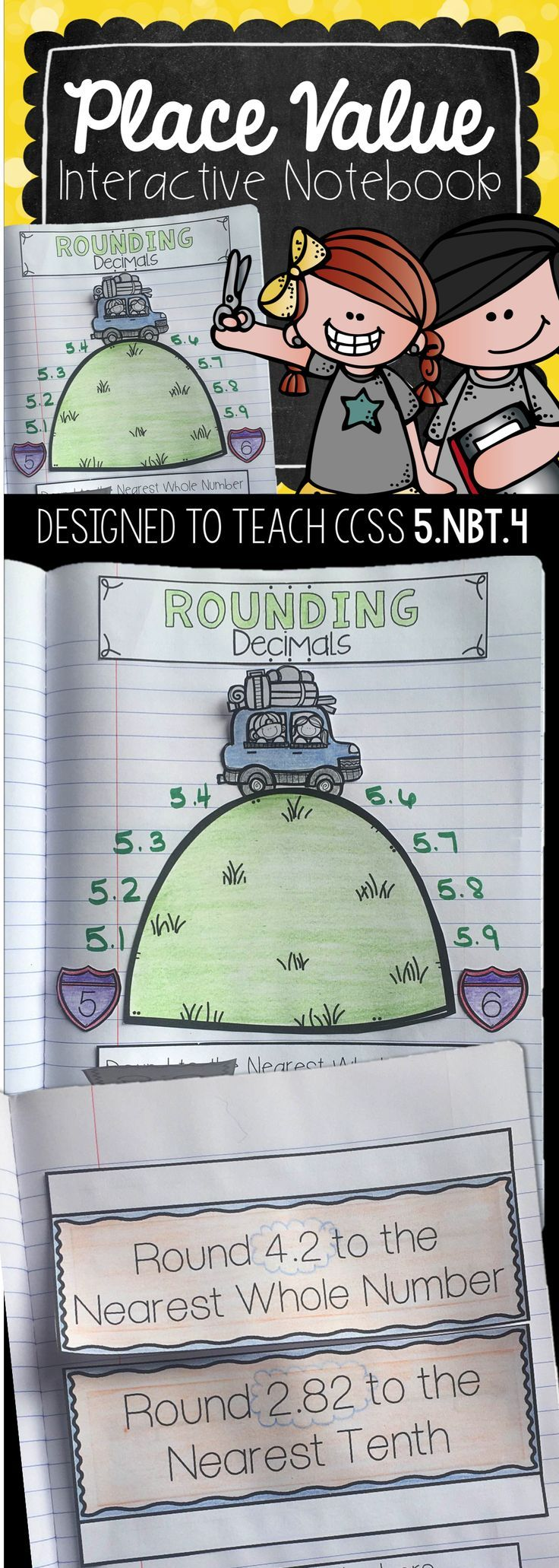 5th Grade Interactive Math Notebook: These Common Core Aligned Interactive Notebooks are designed to give a visual cues and practice problems to teach rounding decimals in fifth grade.