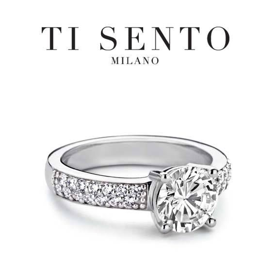 A engagement ring look without the engagement ring price with this cz ring from Ti Sento
